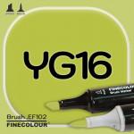 Маркер FINECOLOR Brush YG16 Темно-желтовато зеленый двухсторонний