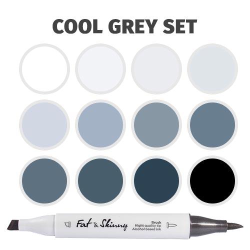 Набор brush-маркеров Fat&Skinny Cool Grey 12 шт