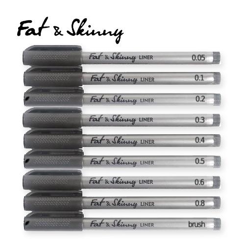 Набор линеров Fat&Skinny 9 шт (0.05 - 0.8 + brush)