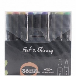 Набор скетч-маркеров Fat&Skinny 36 шт