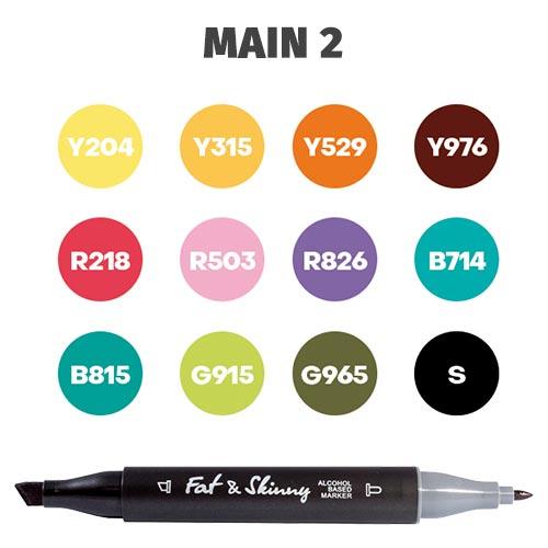 Набор скетч-маркеров Fat&Skinny Main 2 12 шт