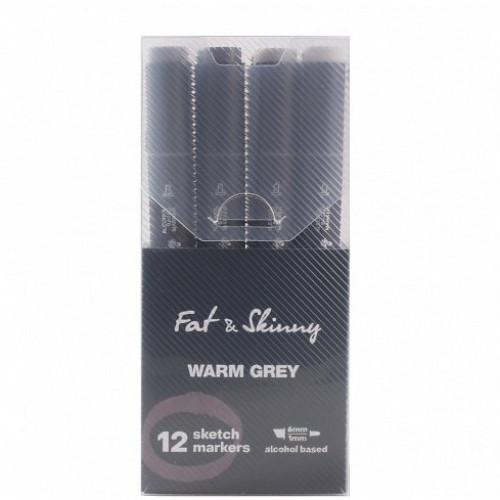 Набор скетч-маркеров Fat&Skinny Warm Grey 12 шт