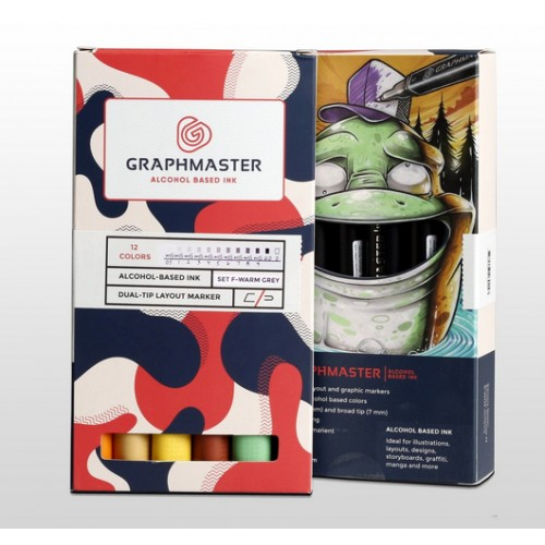 Набор спиртовых маркеров Graphmaster теплые серые тона 12шт