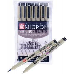 Набор капиллярных ручек Pigma: 6 ручек Pigma MIcron+1 Pigma Brush
