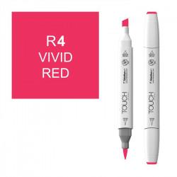 Маркер TOUCH BRUSH R4 Красный Яркий (Vivid Red) двухсторонний на спиртовой основе