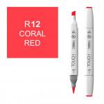 Маркер TOUCH BRUSH R12 Красный Коралловый (Coral Red) двухсторонний на спиртовой основе