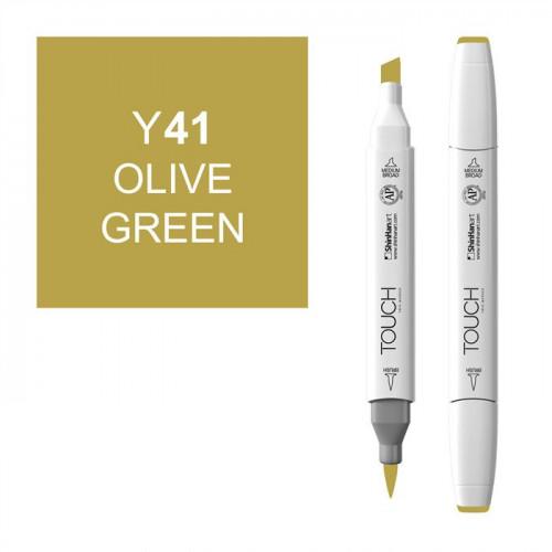 Маркер TOUCH BRUSH Y41 Зеленый Оливковый (Olive Green) двухсторонний на спиртовой основе