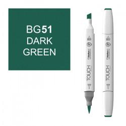 Маркер TOUCH BRUSH BG51 Зеленый Темный (Dark Green) двухсторонний на спиртовой основе