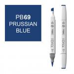 Маркер TOUCH BRUSH PB69 Лазурь Берлинская (Prussian Blue) двухсторонний на спиртовой основе