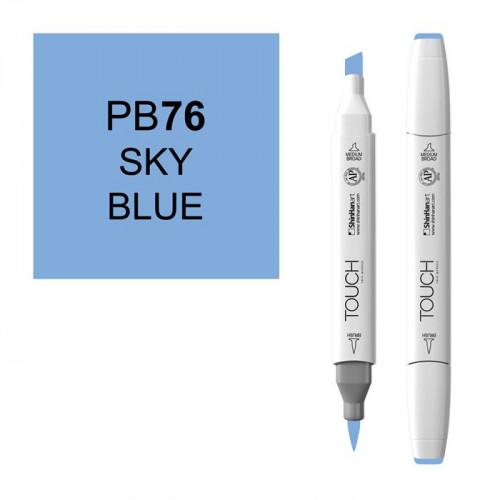 Маркер TOUCH BRUSH PB76 Небесно-Голубой (Sky Blue) двухсторонний на спиртовой основе