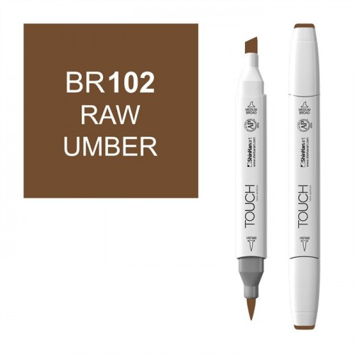 Маркер TOUCH BRUSH BR102 Умбра Натуральная (Raw Umber) двухсторонний на спиртовой основе