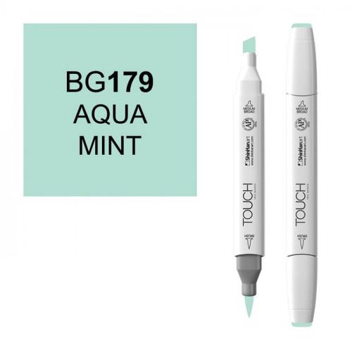 Маркер TOUCH BRUSH BG179 Сине-Зеленый Мятный (Aqua Mint) двухсторонний на спиртовой основе