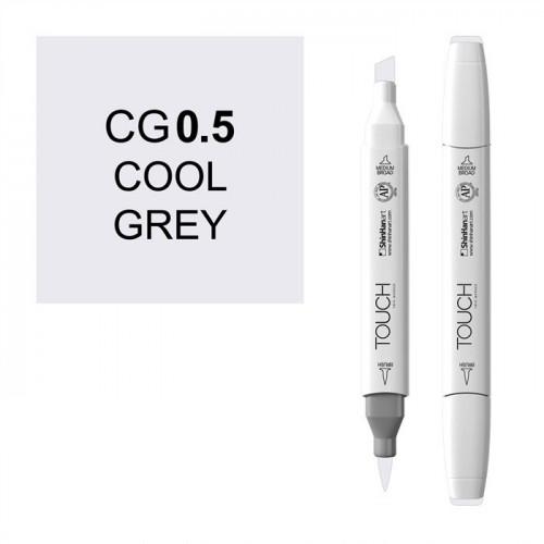 Маркер TOUCH BRUSH CG0.5 Серый Холодный 0.5 (Cool Grey 0.5) двухсторонний на спиртовой основе