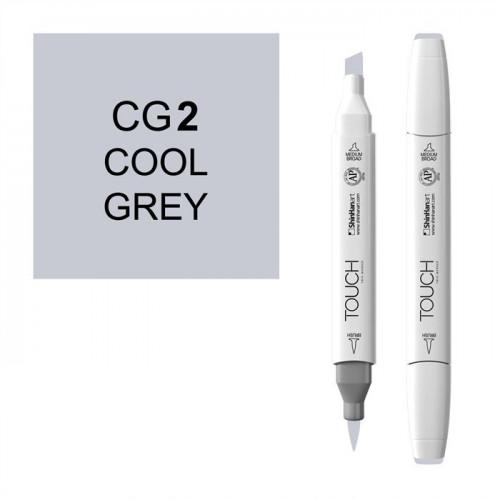 Маркер TOUCH BRUSH CG2 Серый Холодный 2 (Cool Grey 2) двухсторонний на спиртовой основе