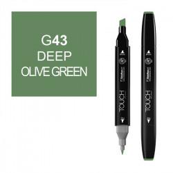 Маркер TOUCH Twin G43 Зеленый Оливковый Насыщенный (Deep Olive Green) двухсторонний наспиртовой основе