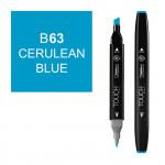 Маркер TOUCH Twin B63 Голубой (Cerulean Blue) двухсторонний наспиртовой основе