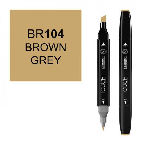Маркер TOUCH Twin BR104 Коричнево-Серый (Brown Grey) двухсторонний наспиртовой основе