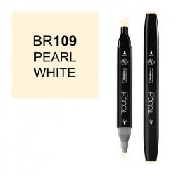 Маркер TOUCH Twin BR109 Белый Перламутровый (Pearl White) двухсторонний наспиртовой основе