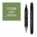 Маркер TOUCH Twin GY235 Зеленая Крушина (Sap Green) двухсторонний наспиртовой основе