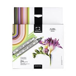 Набор спиртовых маркеров Малевичъ GrafArt Brush, Флора 24 цвета