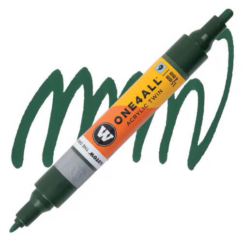 Маркер акриловый Molotow One4All 227HS-CO Twin (145) Темно-зеленый (Future green) 1,5-4 мм