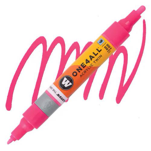 Маркер акриловый Molotow One4All 227HS-CO Twin (217) Неон-розовый (Neon pink fluorescent) 1,5-4 мм