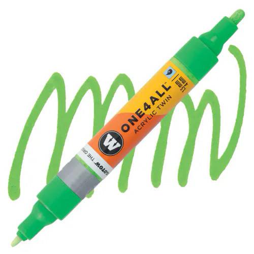 Маркер акриловый Molotow One4All 227HS-CO Twin (219) Неон-зеленый (Neon green fluorescent) 1,5-4 мм