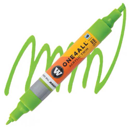 Маркер акриловый Molotow One4All 227HS-CO Twin (221) Светло-зеленый (Grasshopper) 1,5-4 мм