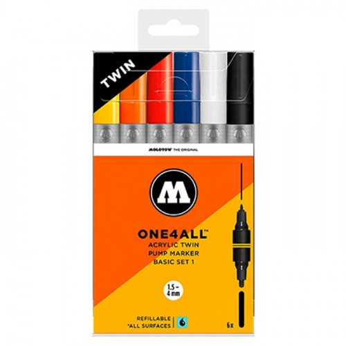 Набор маркеров Molotow ONE4ALL Acrylic Twin Basic Set 1, 6шт