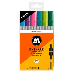 Набор маркеров Molotow ONE4ALL Acrylic Twin Basic Set 2, 6шт