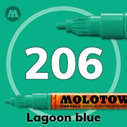 Маркер акриловый Molotow ONE4ALL 127HS 206 Голубая лагуна (Lagoon blue) 2мм