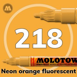 Маркер акриловый Molotow ONE4ALL 127HS 218 Неон-оранжевый (Neon orange fluorescent) 2мм