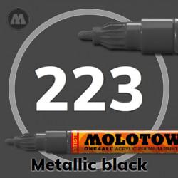 Маркер акриловый Molotow ONE4ALL 127HS 223 Металлик черный (Metallic black) 2мм