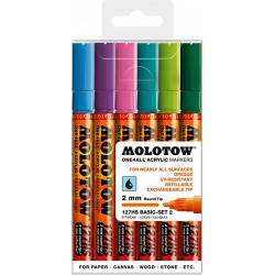 Набор маркеров Molotow One4all 127HS Basic-Set 2, 6 шт 2 мм