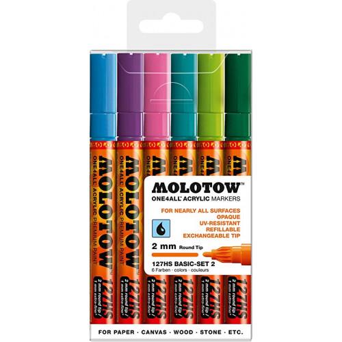 Набор маркеров Molotow One4all 127HS Basic-Set 2, 6 шт 2 мм