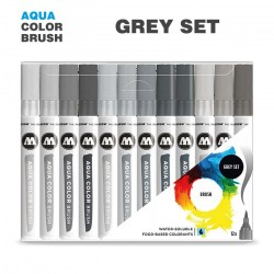 Набор маркеров AQUA COLOR BRUSH Grey Set, 12шт