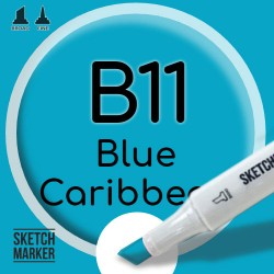 Двухсторонний маркер на спиртовой основе B11 Blue Caribbean (Карибский синий) SKETCHMARKER