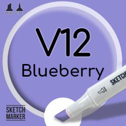 Двухсторонний маркер на спиртовой основе V12 Blueberry (Голубика) SKETCHMARKER