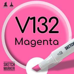 Двухсторонний маркер на спиртовой основе V132 Magenta (Пурпурный) SKETCHMARKER