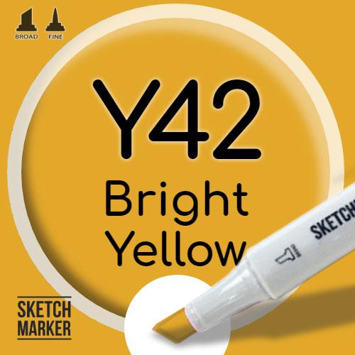 Двухсторонний маркер на спиртовой основе Y42 Bright Yellow (Яркий желтый) SKETCHMARKER