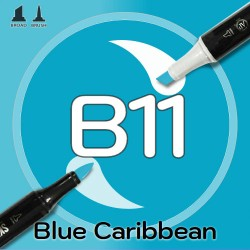 Маркер Sketchmarker BRUSH B11 Blue Caribbean (Карибский синий) Два пера: кисть и долото. На спиртовой основе