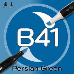 Маркер Sketchmarker BRUSH B41 Persian Green (Персидский зеленый) Два пера: кисть и долото. На спиртовой основе