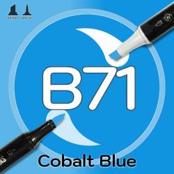 Маркер Sketchmarker BRUSH B71 Cobalt Blue (Голубой кобальт) Два пера: кисть и долото. На спиртовой основе