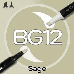 Маркер Sketchmarker BRUSH BG12 Sage (Шалфей) Два пера: кисть и долото. На спиртовой основе