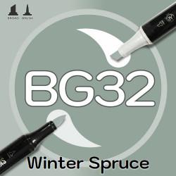 Маркер Sketchmarker BRUSH BG32 Winter Spruce (Зимняя ель) Два пера: кисть и долото. На спиртовой основе