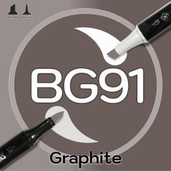 Маркер Sketchmarker BRUSH BG91 Graphite (Графит) Два пера: кисть и долото. На спиртовой основе