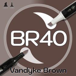 Маркер Sketchmarker BRUSH BR40 Vandyke Brown (Коричневый Ван Дейка) Два пера: кисть и долото. На спиртовой основе