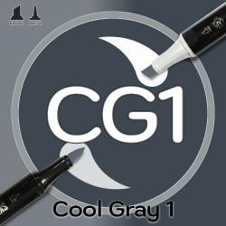 Маркер Sketchmarker BRUSH CG1 Cool Gray 1 (Прохладный серый 1) Два пера: кисть и долото. На спиртовой основе