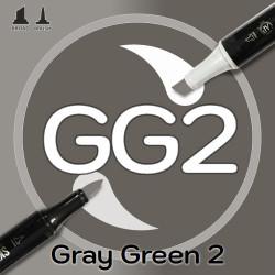Маркер Sketchmarker BRUSH GG2 Gray Green 2 (Серо зелёный 2) Два пера: кисть и долото. На спиртовой основе