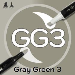 Маркер Sketchmarker BRUSH GG3 Gray Green 3 (Серо зелёный 3) Два пера: кисть и долото. На спиртовой основе